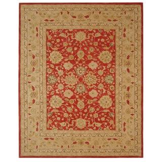 Handmade Mahal Ancestry Red/ Ivory Wool Rug (8' x 10')