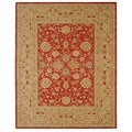 Handmade Mahal Ancestry Red/ Ivory Wool Rug (8&#39; x 10&#39;)