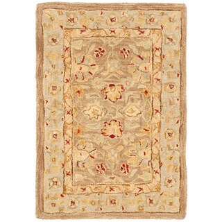 Handmade Ancestry Tan/ Ivory Wool Rug (2' x 3')
