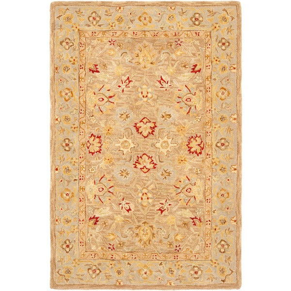 Safavieh Anatolia Handmade Tan / Ivory Wool Rug (5' x 8')