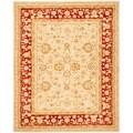 Handmade Ancestry Ivory/ Red Wool Rug (8' x 10')