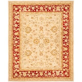 Handmade Ancestry Ivory/ Red Wool Rug (9'6 x 13'6)