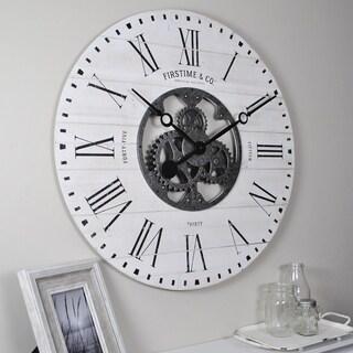 FirsTime & Co.® Shiplap Gears Wall Clock