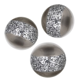 Schonwerk Silver Resin Balls/Orbs Set of 3 (Crackled Mosaic) 3.2""