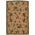Handmade Descent Beige Wool Rug (2' x 3')