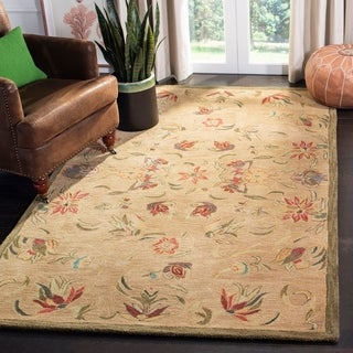 Handmade Descent Beige Wool Rug (5&#39; x 8&#39;)