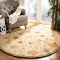 Handmade Descent Beige Wool Rug (6' x 9')