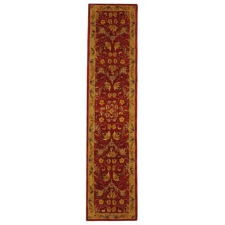 Handmade Hereditary Burgundy/ Gold Wool Runner (2'3 x 12')