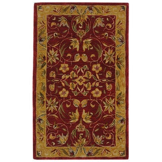 Handmade Hereditary Burgundy/ Gold Wool Rug (3' x 5')