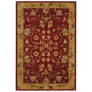 Safavieh Handmade Hereditary Burgundy/ Gold Wool Rug (4' x 6')