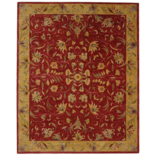 Safavieh Handmade Hereditary Burgundy/ Gold Wool Rug (9' x 12')