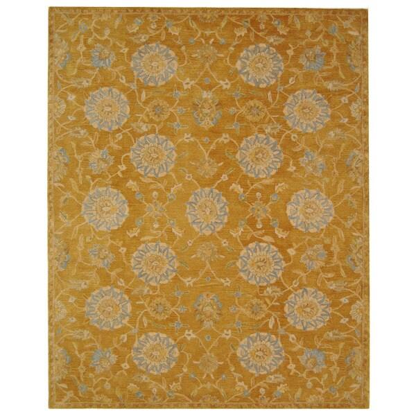 Safavieh Handmade Medallions Gold Wool Rug (6' x 9')