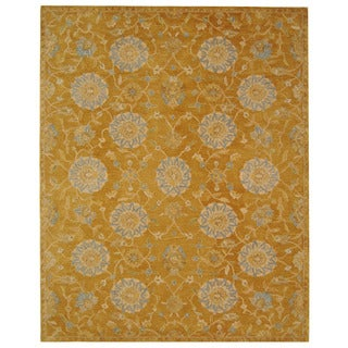 Handmade Medallions Gold Wool Rug (9' x 12')