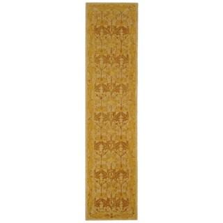 Handmade Nomadic Ivory/ Gold Wool Runner (2'3 x 12')