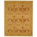 Handmade Nomadic Ivory/ Gold Wool Rug (6' x 9')