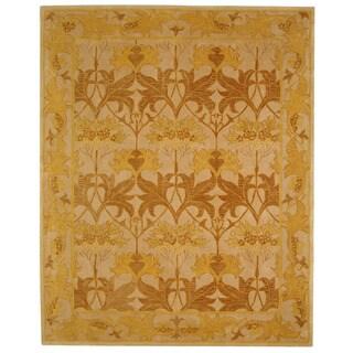 Handmade Nomadic Ivory/ Gold Wool Rug (9' x 12')