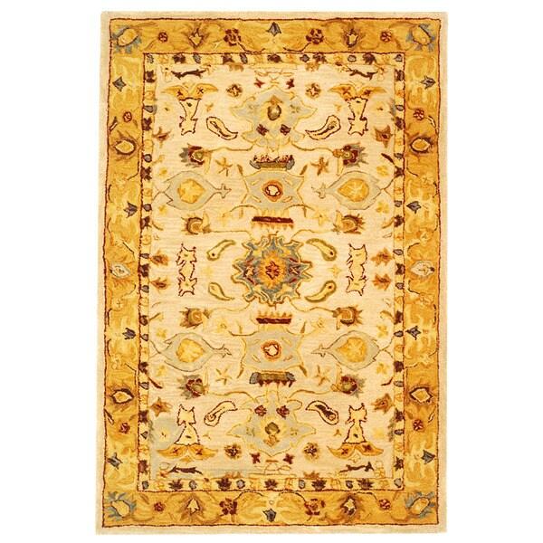 Safavieh Handmade Tribal Ivory/ Gold Wool Rug (4' x 6')