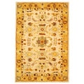 Handmade Tribal Ivory/ Gold Wool Rug (5' x 8')