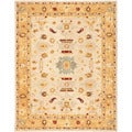 Handmade Tribal Ivory/ Gold Wool Rug (6' x 9')