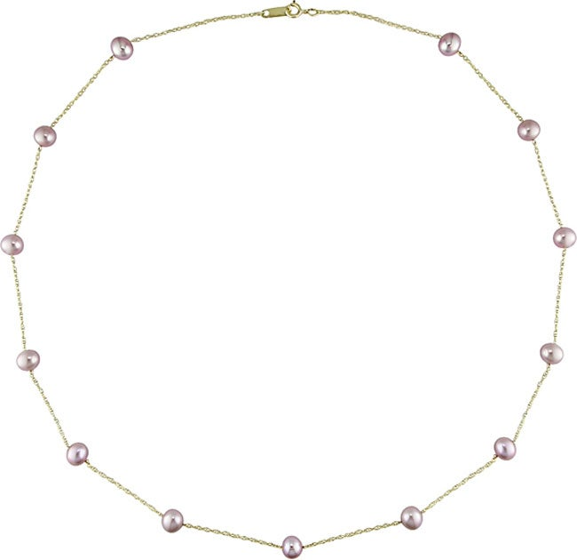 Miadora 10k Gold Cultured FW Pink Pearl Necklace (5-5.6mm)