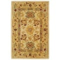 Handmade Heirloom Ivory/ Gold Wool Rug (2&#39; x 3&#39;)