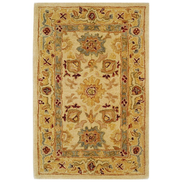 Safavieh Handmade Heirloom Ivory/ Gold Wool Rug (3' x 5')