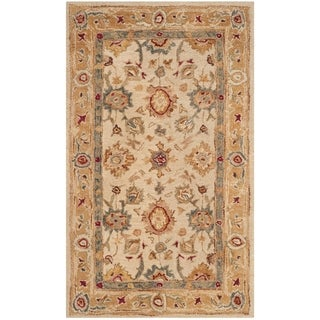 Handmade Heirloom Ivory/ Gold Wool Rug (3' x 5')