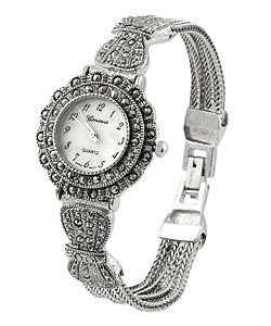 Geneva Women's Marcasite Antique Inspired Watch
