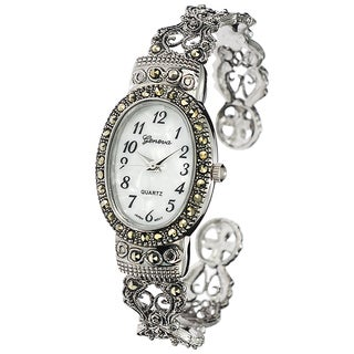 Geneva Platinum Marcasite Oval Face Women&#39;s Watch