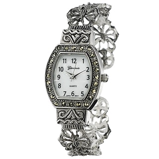 Geneva Platinum Convex Marcasite Women's Watch