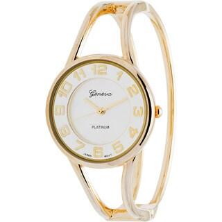Geneva Women's Platinum Polished Bangle Watch