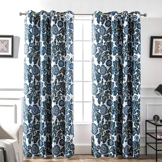Porch & Den Eyres Floral and Bird Thermal Lined Blackout Curtain Panel Pair - 52 x 84