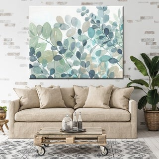 """Norman Wyatt Home """"Plush Grounds"""" Blue/ Green Floral Gallery Wrapped Canvas - Blue"""