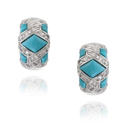 ICZ Stonez Sterling Silver Turquoise and CZ Earrings