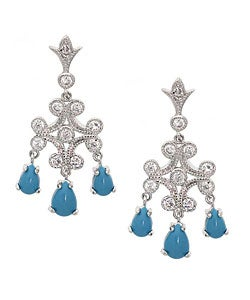 ICZ Stonez Sterling Silver Synthetic Turquoise CZ Earrings