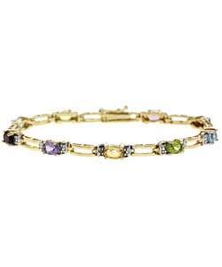 Glitzy Rocks 18k Gold/ Sterling Silver Multi-Stone Bracelet
