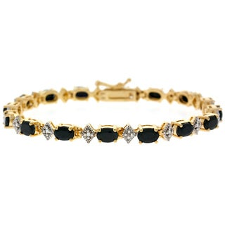 Glitzy Rocks 18k Gold over Sterling Silver Sapphire Diamond Bracelet