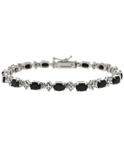 Glitzy Rocks Sterling Silver Sapphire Diamond Tennis Bracelet