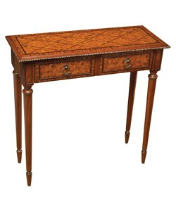 Burl Finish Hall Accent Table
