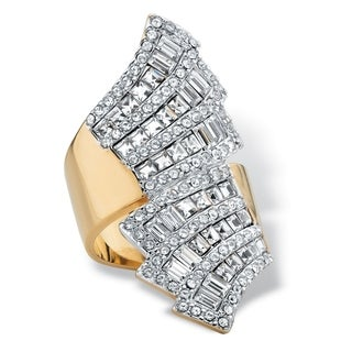 14k Yellow Gold-Plated Baguette Crystal SWAROVSKI ELEMENTS Bypass Ring - White