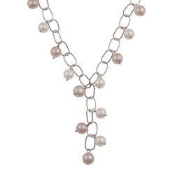 DaVonna Silver Pink and White FW Pearl 16-inch Link Necklace