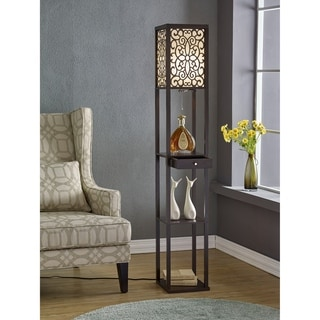 """Artiva USA Etagere 63"""" Shelf Floor lamp with Floral Shade Panels and Drawer"""