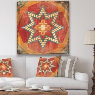 Designart 'Moroccan Orange Tiles Collage I' Bohemian Chic Premium Canvas Wall Art