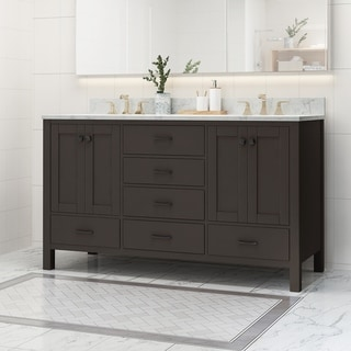 """Laranne Contemporary 60"""" Wood Double Sink Bathroom Vanity with Carrera Marble Top by Christopher Knight Home"""