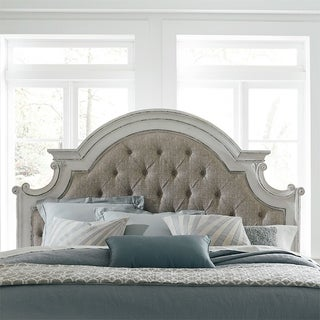 Magnolia Manor Antique White King Upholstered Panel Headboard