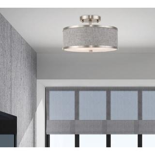 """Livex Lighting Park Ridge 2-Light Fabric Drum Shade Ceiling Mount - 13""""Dia. x 8""""H"""
