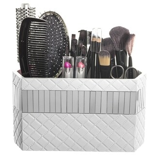 Quilted Mirror Bathroom Organizer Hair Accessories Makeup Brush Holder