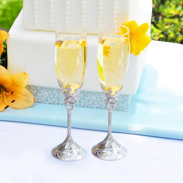 Hand-Blown Satin Finish Champagne Flutes (Set of 2)