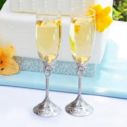 Hand-Blown Satin Finish Champagne Flutes (Set of 2)