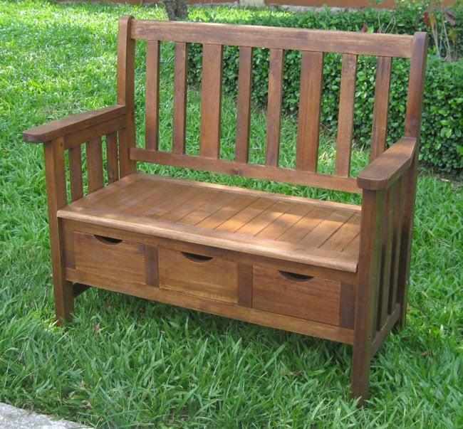 International Caravan 3-drawer Acacia Bench with Arms